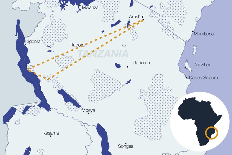 Carte de la région - chimpanzés en Zanzanie