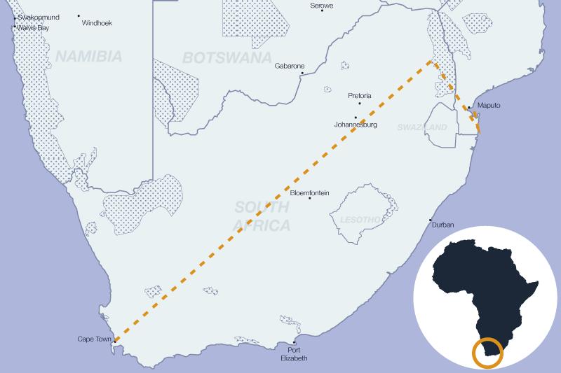 Carte de Le cap, le kruger et des plages en Afrique du Sud et Mozambique