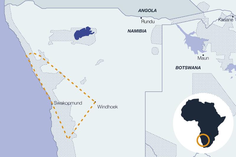 Carte safari en Namibie, voyage sur mesure