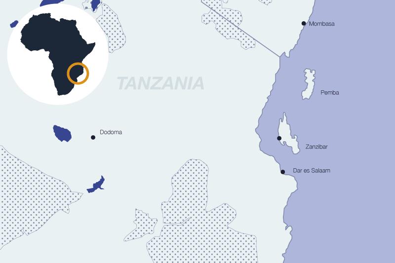 Carte de la Tanzanie avec Mungo Park